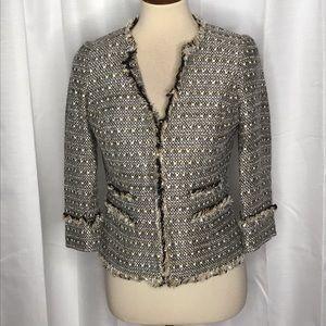 Boden Boucle Tweed Fringed Cropped Blazer